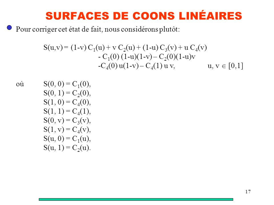 SURFACES DE COONS LINÉAIRES