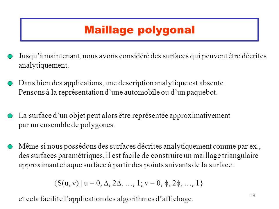Maillage polygonal Jusqu'à maintenant, nous avons considéré des surfaces qui peuvent être décrites.