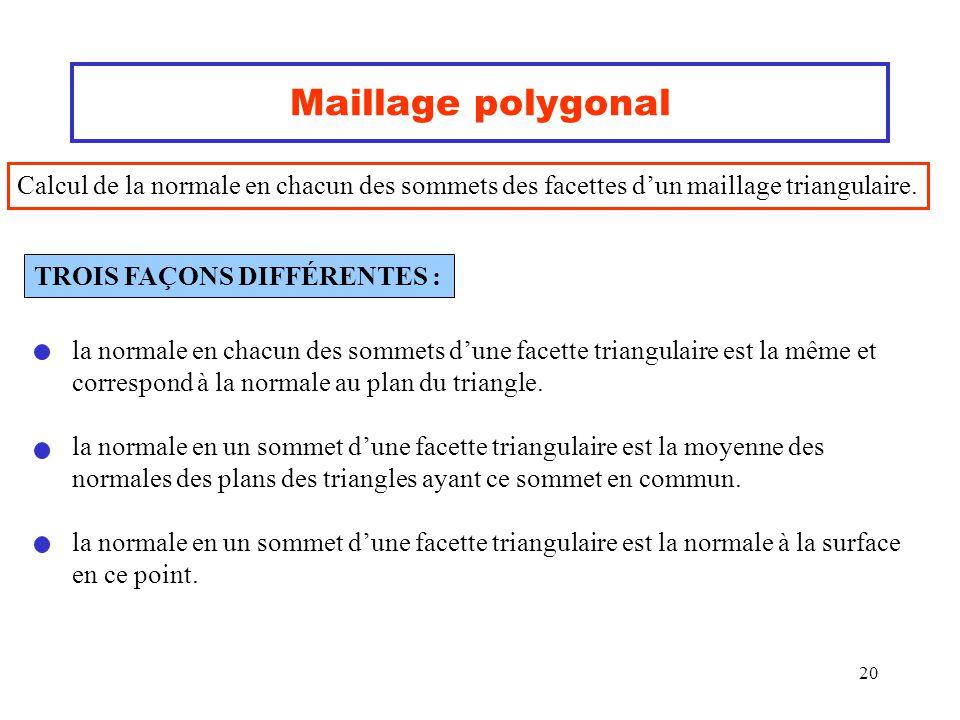 Maillage polygonal Calcul de la normale en chacun des sommets des facettes d'un maillage triangulaire.