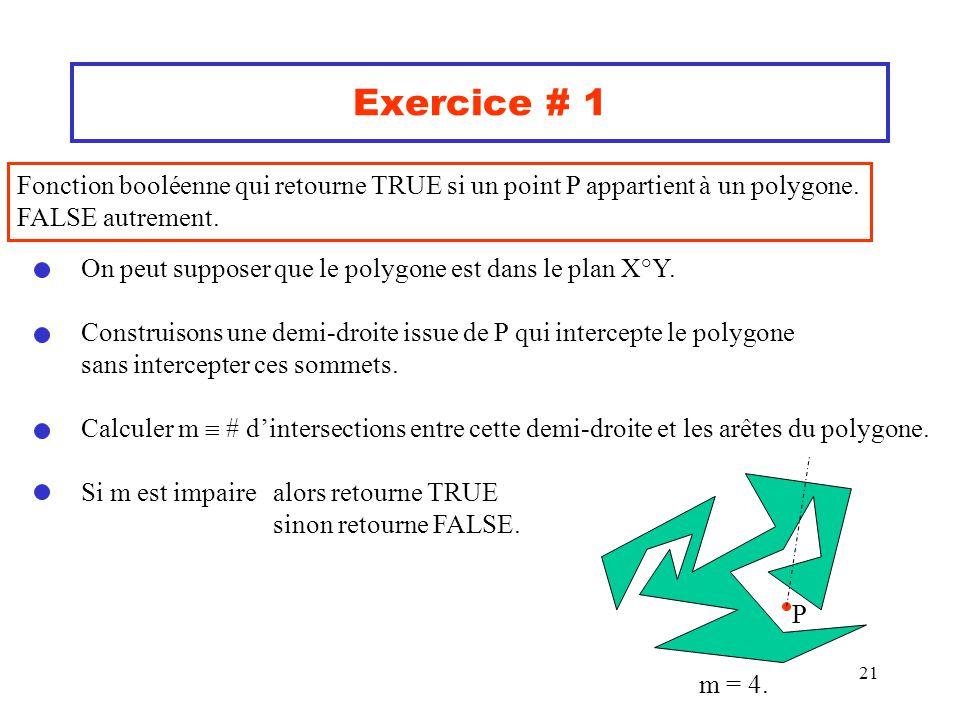 Exercice # 1 Fonction booléenne qui retourne TRUE si un point P appartient à un polygone. FALSE autrement.