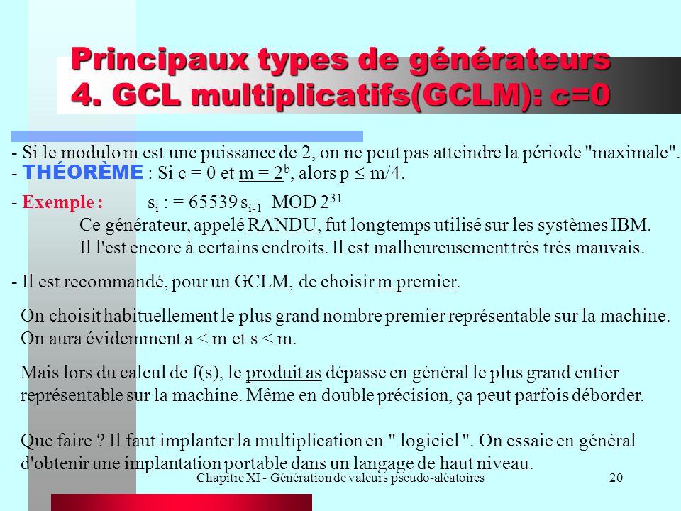 Principaux types de générateurs 4. GCL multiplicatifs(GCLM): c=0