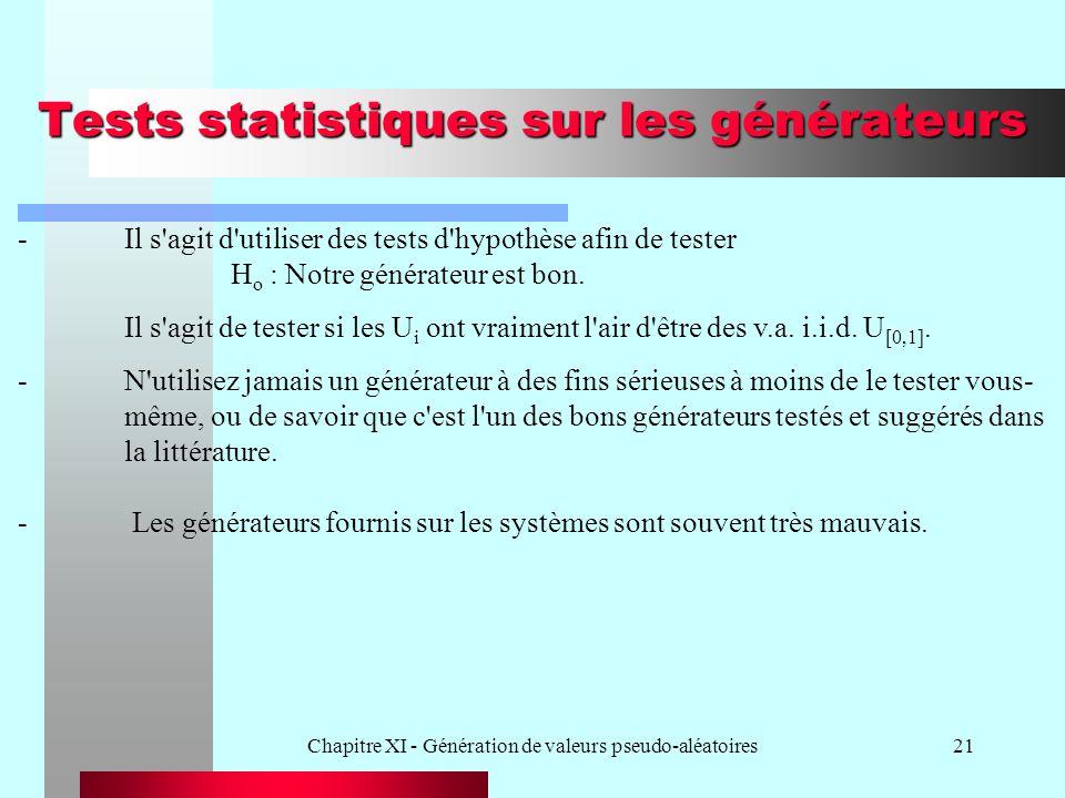 Tests statistiques sur les générateurs