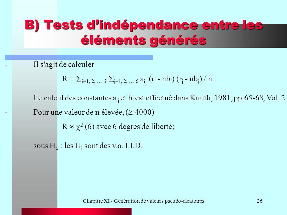 B) Tests d'indépendance entre les éléments générés
