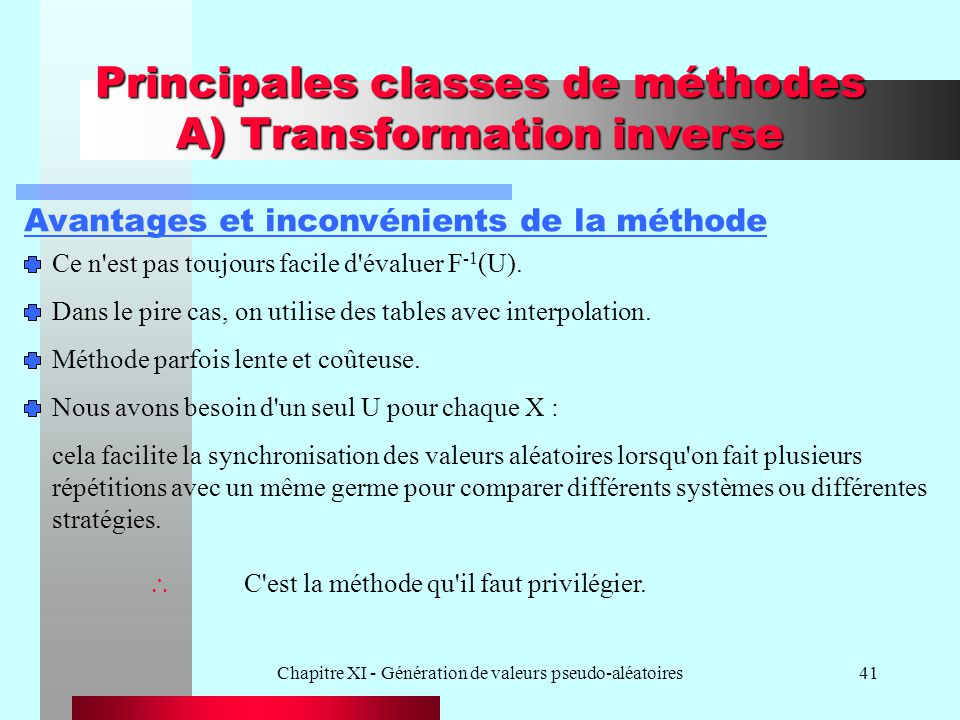 Principales classes de méthodes A) Transformation inverse
