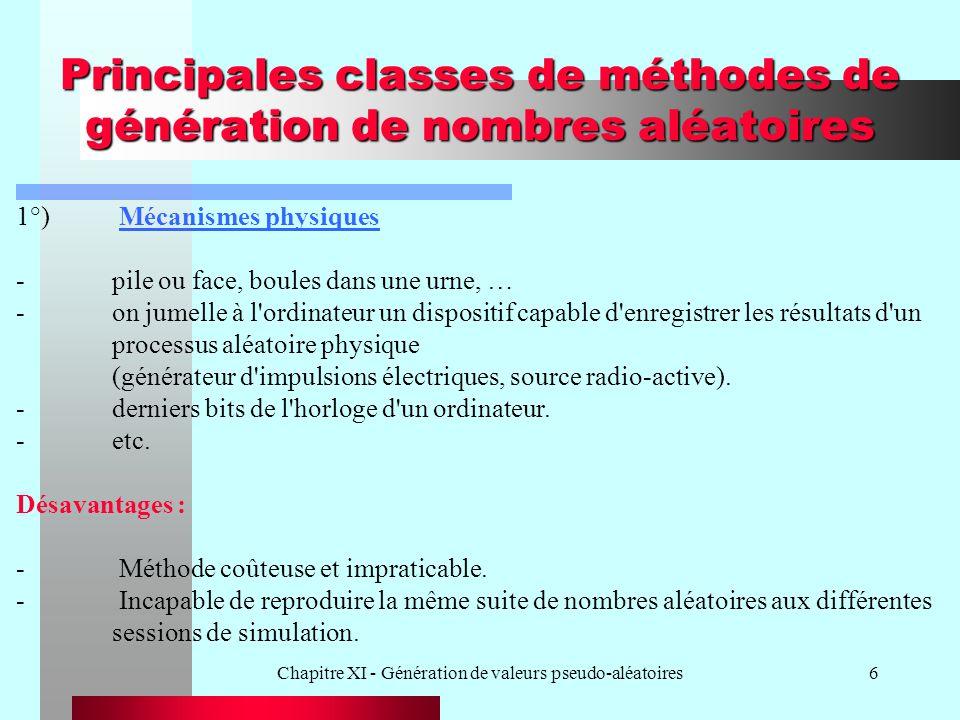 Principales classes de méthodes de génération de nombres aléatoires