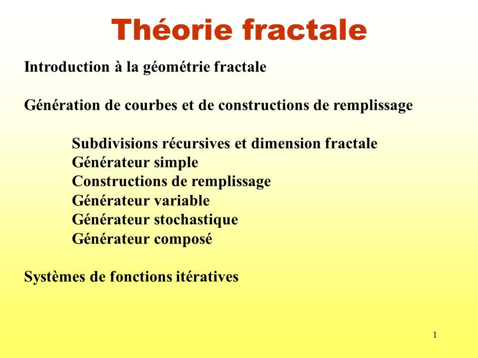 Théorie fractale Introduction à la géométrie fractale