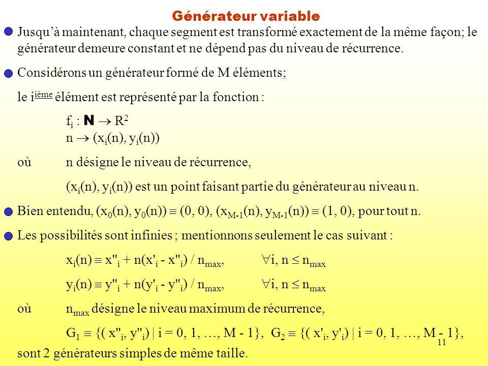 Générateur variable Jusqu'à maintenant, chaque segment est transformé exactement de la même façon; le.