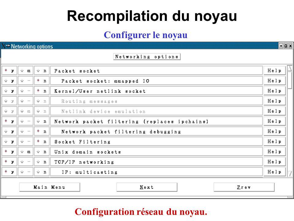 Recompilation du noyau Configuration réseau du noyau.