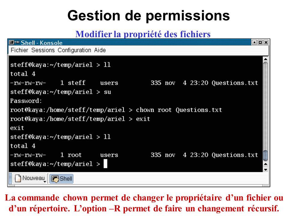 Gestion de permissions Modifier la propriété des fichiers