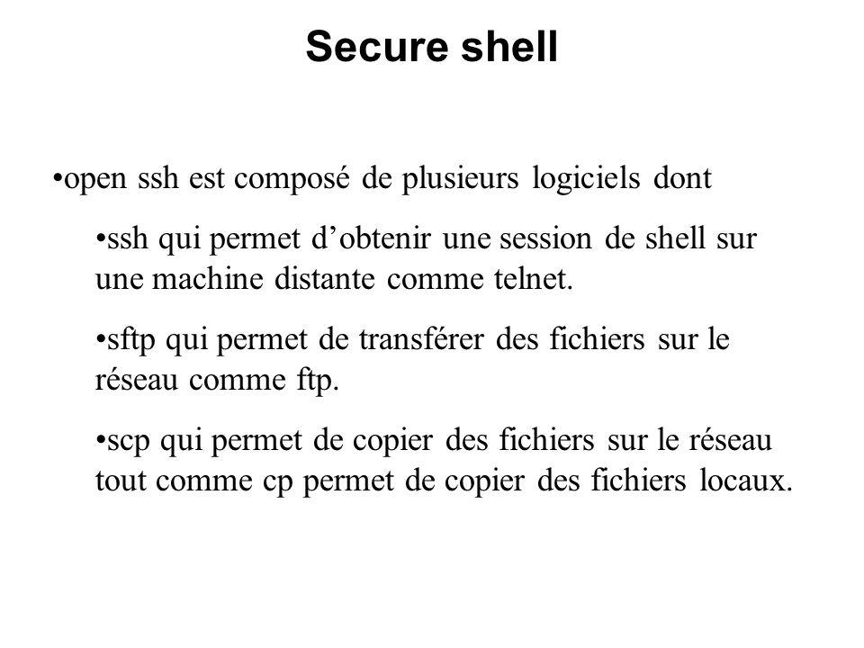 Secure shell open ssh est composé de plusieurs logiciels dont