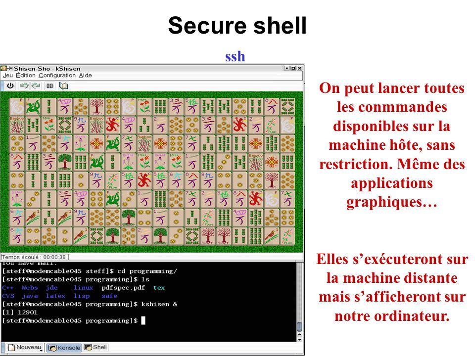 Secure shell ssh. On peut lancer toutes les conmmandes disponibles sur la machine hôte, sans restriction. Même des applications graphiques…