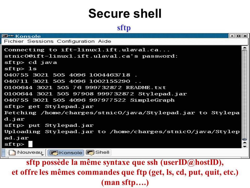 Secure shell sftp.