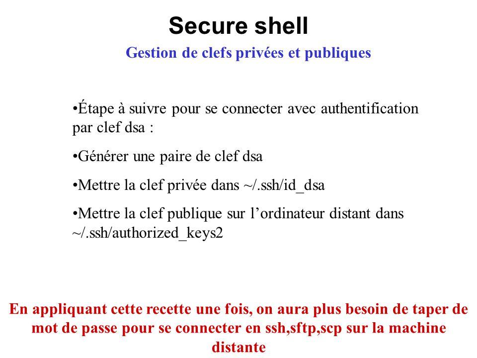 Gestion de clefs privées et publiques