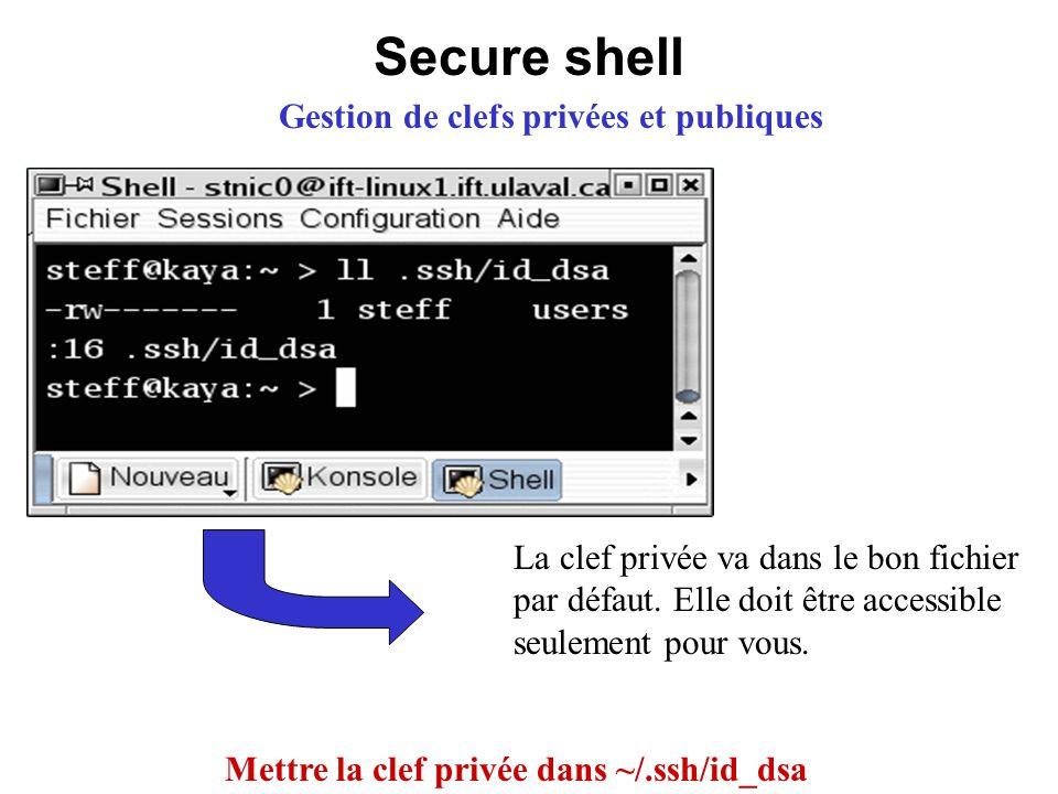 Secure shell Gestion de clefs privées et publiques