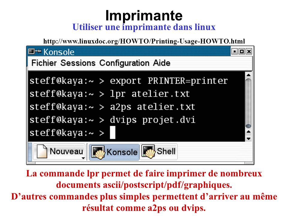 Utiliser une imprimante dans linux