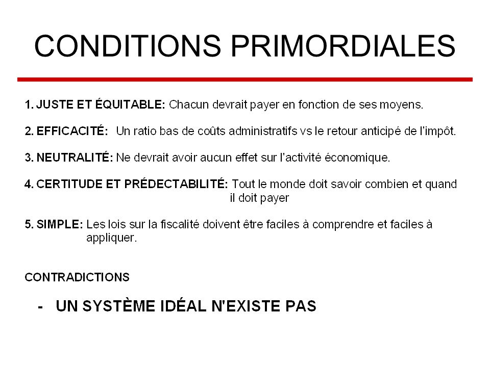 CONDITIONS PRIMORDIALES