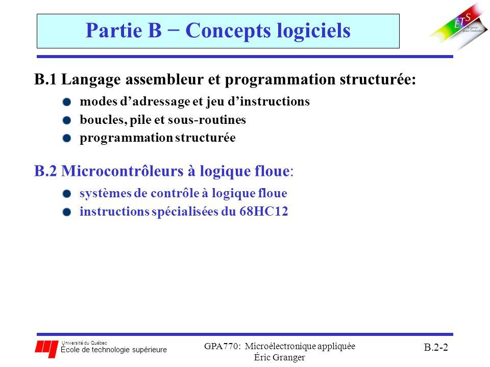 Partie B − Concepts logiciels