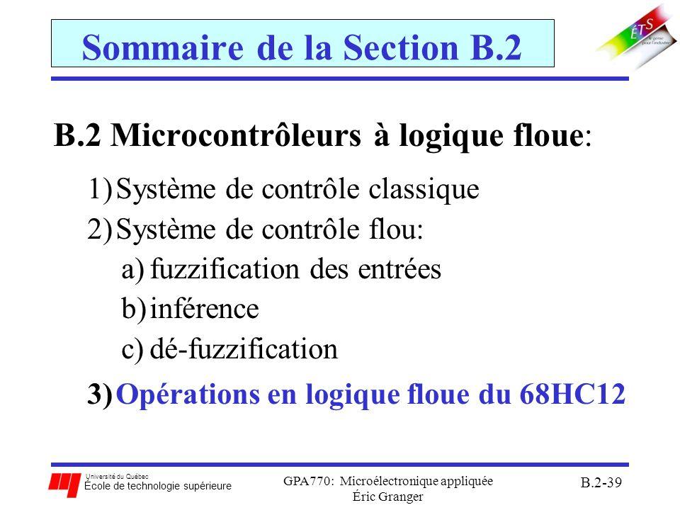 Sommaire de la Section B.2