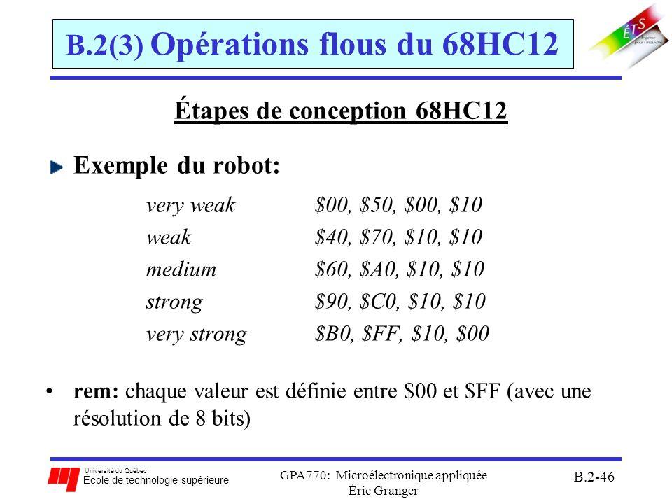 B.2(3) Opérations flous du 68HC12