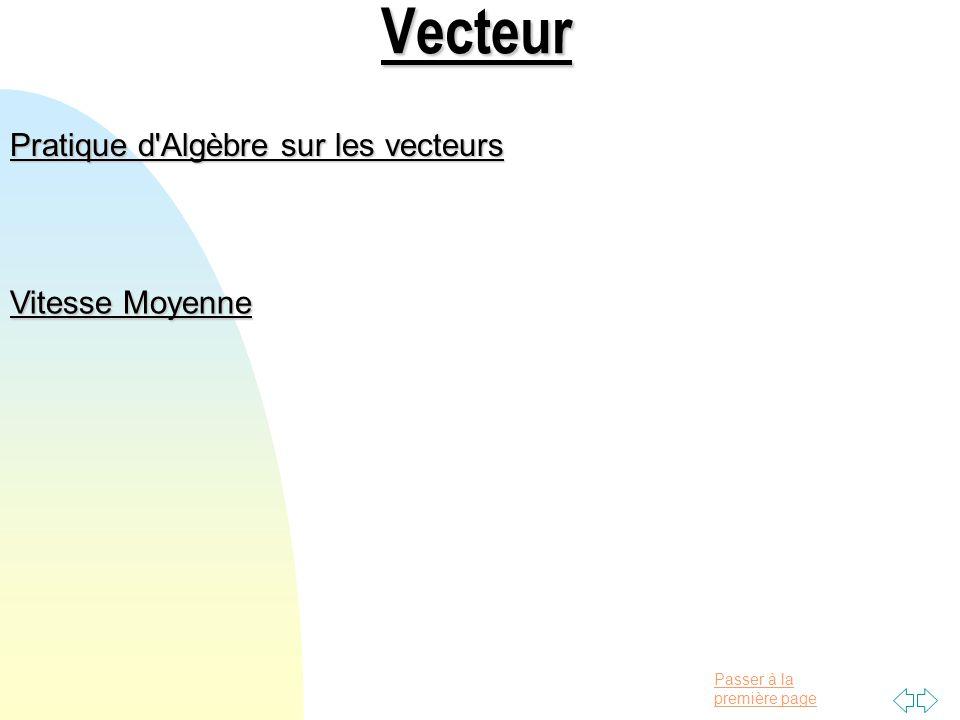 Vecteur Pratique d Algèbre sur les vecteurs Vitesse Moyenne