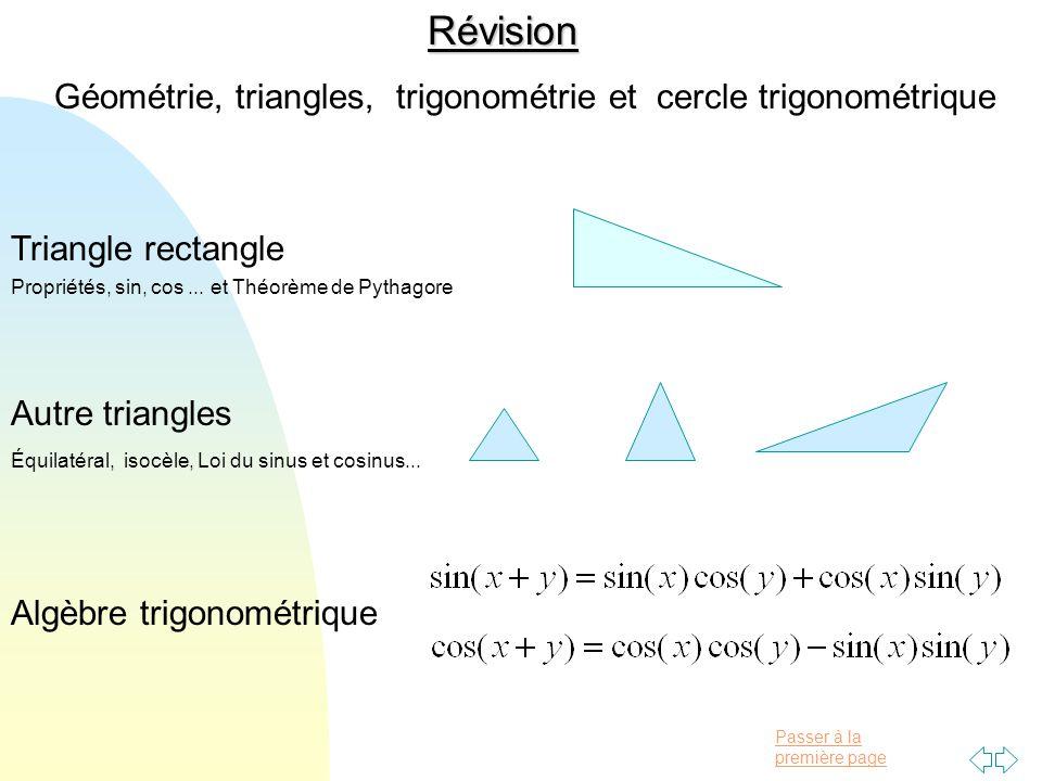 Révision Géométrie, triangles, trigonométrie et cercle trigonométrique