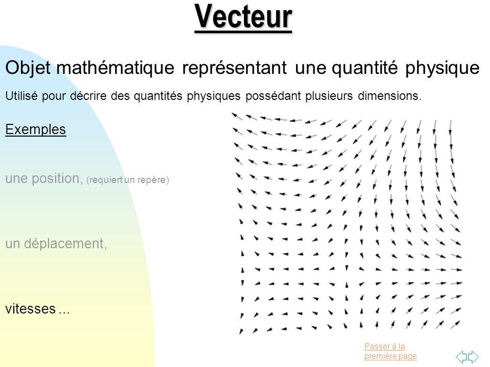 Vecteur Objet mathématique représentant une quantité physique Exemples