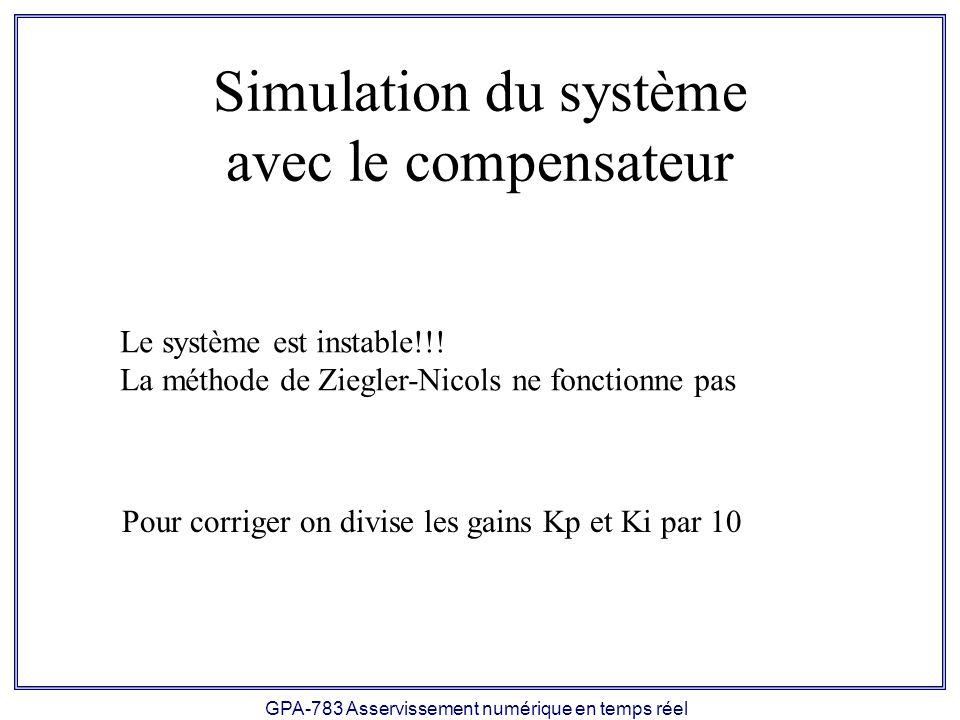 Simulation du système avec le compensateur