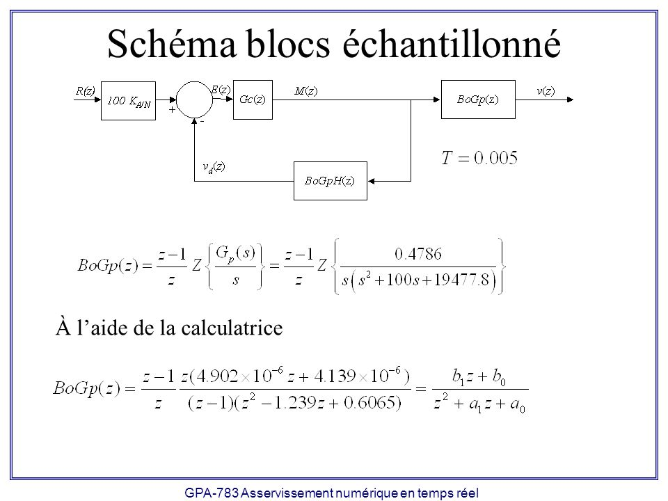 Schéma blocs échantillonné