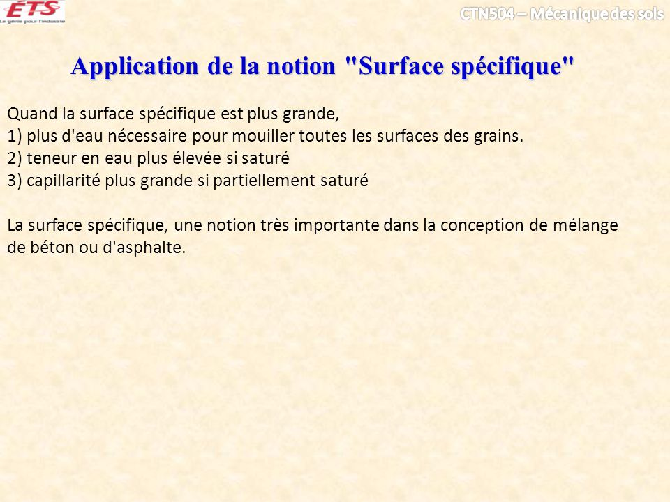 Application de la notion Surface spécifique
