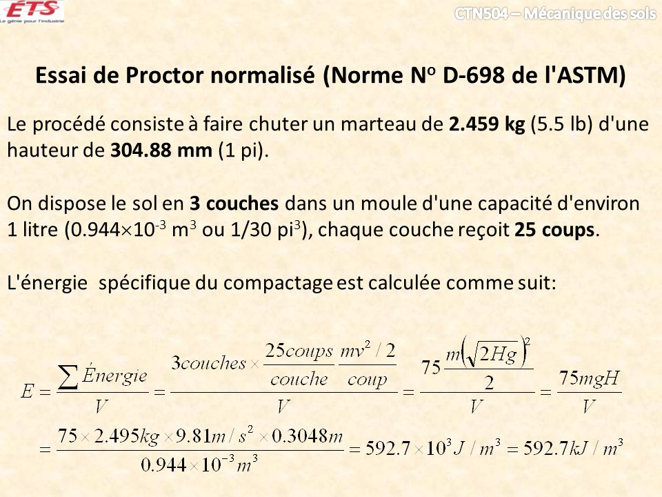Essai de Proctor normalisé (Norme No D-698 de l ASTM)