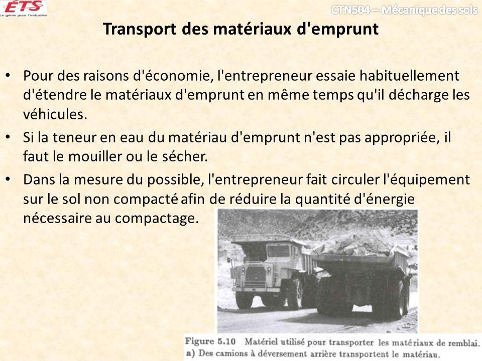 Transport des matériaux d emprunt