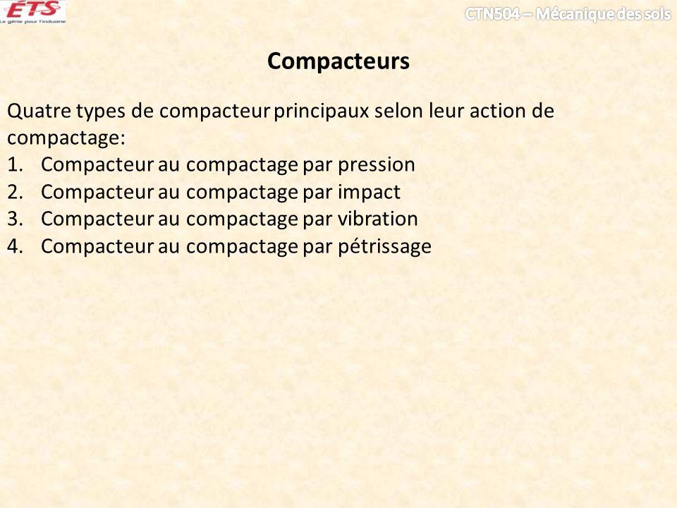 Compacteurs Quatre types de compacteur principaux selon leur action de compactage: Compacteur au compactage par pression.