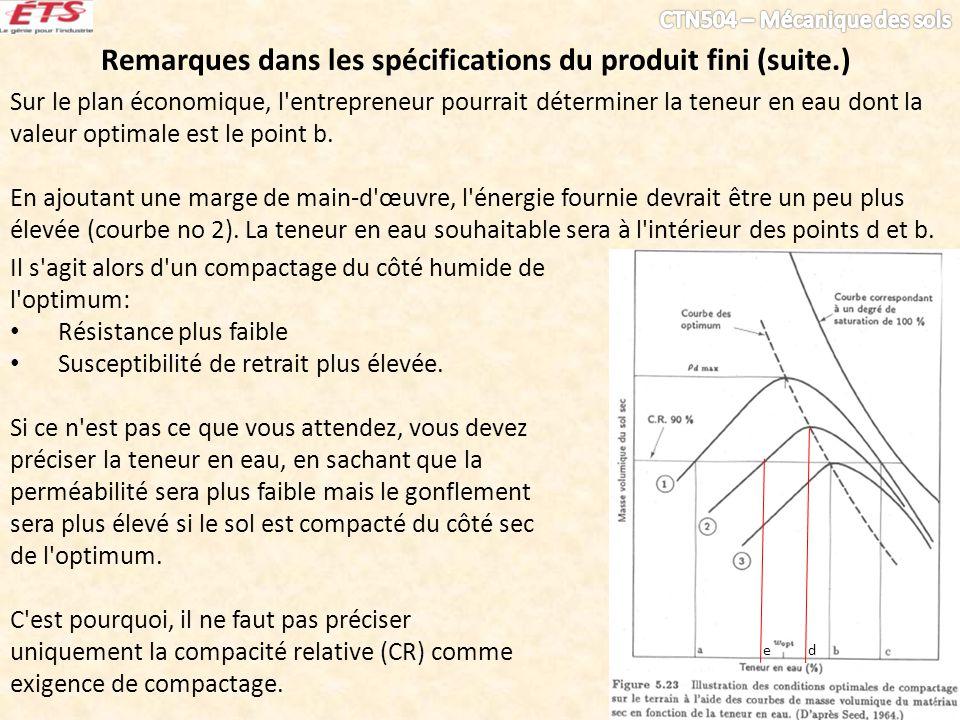 Remarques dans les spécifications du produit fini (suite.)