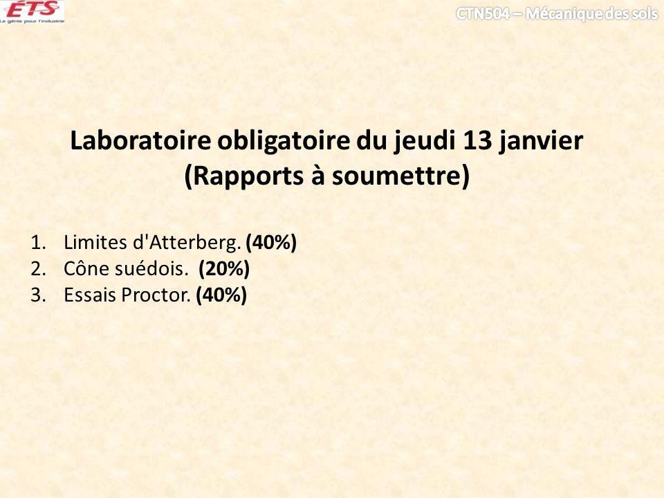 Laboratoire obligatoire du jeudi 13 janvier (Rapports à soumettre)