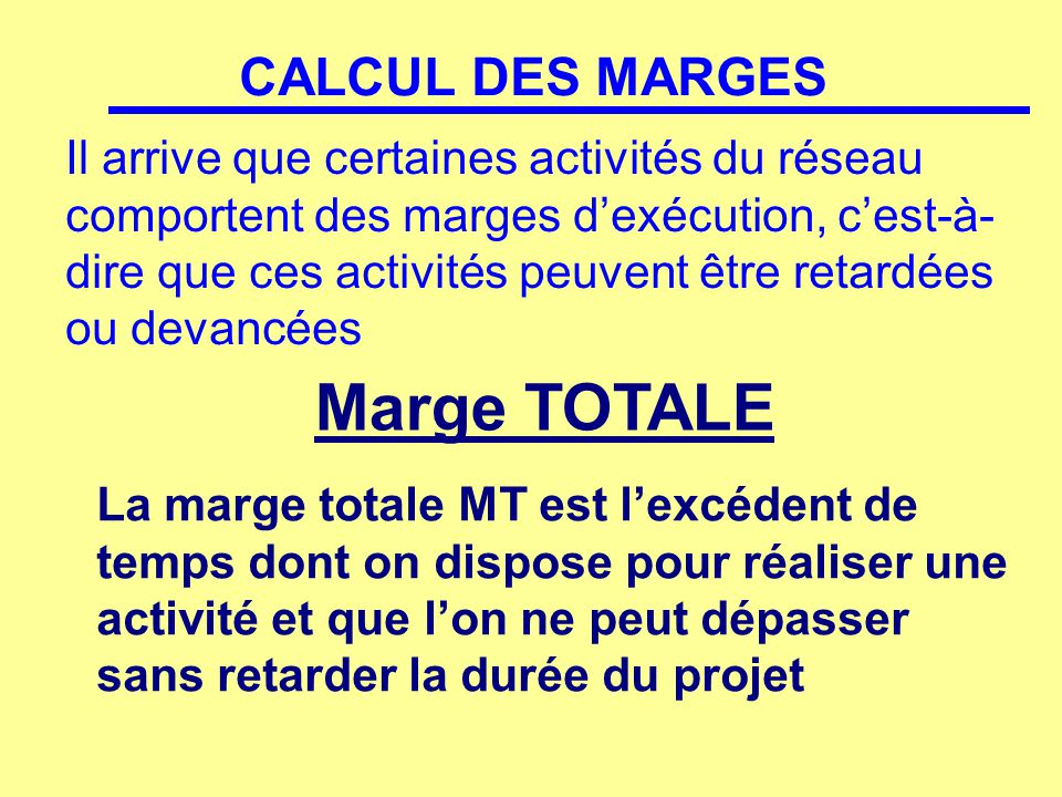 Marge TOTALE CALCUL DES MARGES