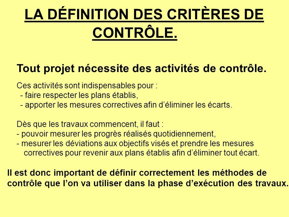 LA DÉFINITION DES CRITÈRES DE CONTRÔLE.