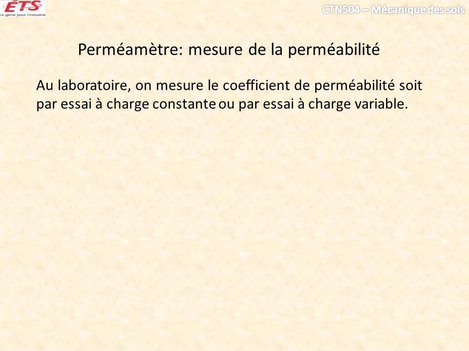 Perméamètre: mesure de la perméabilité