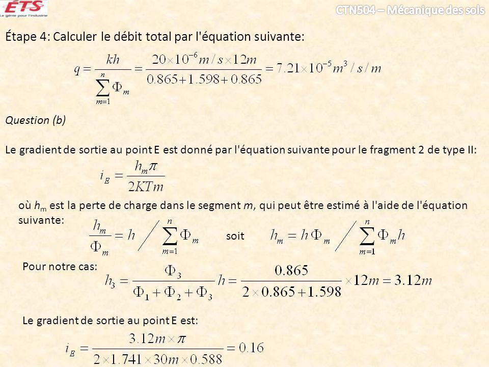 Étape 4: Calculer le débit total par l équation suivante: