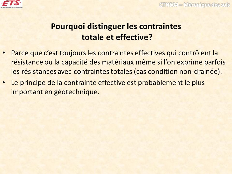 Pourquoi distinguer les contraintes totale et effective