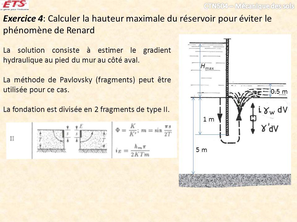 Exercice 4: Calculer la hauteur maximale du réservoir pour éviter le phénomène de Renard