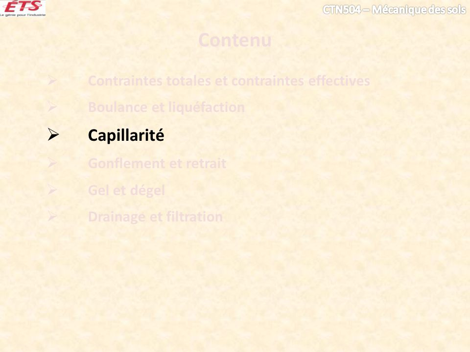 Contenu Capillarité Contraintes totales et contraintes effectives