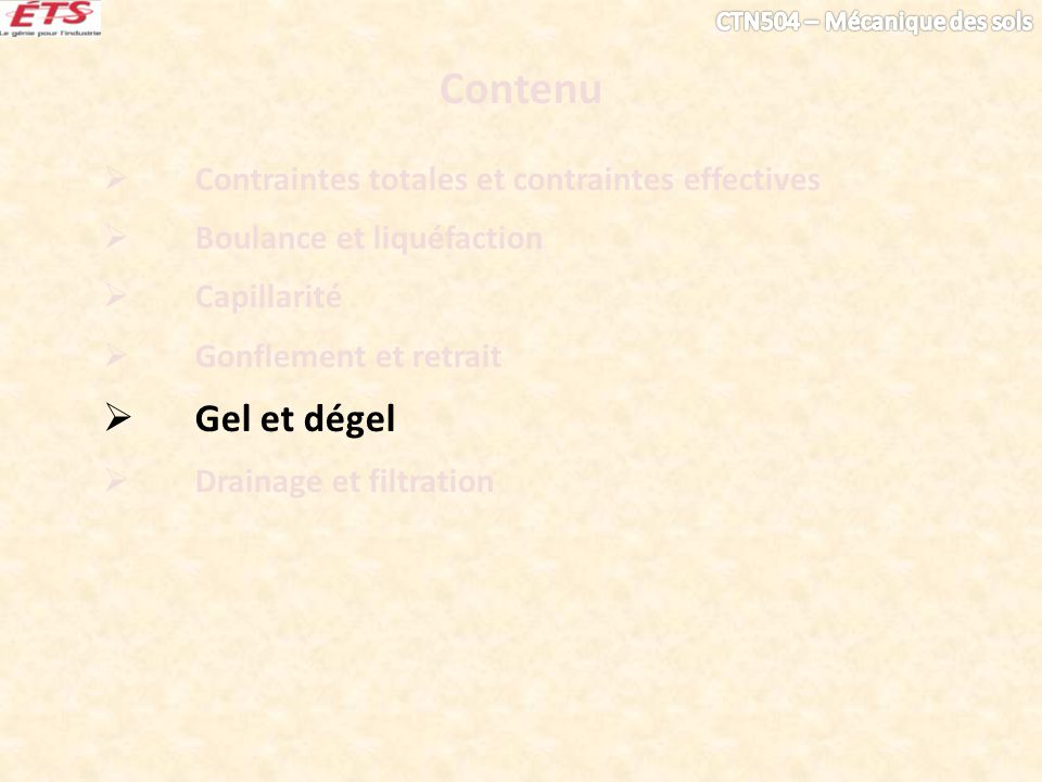 Contenu Gel et dégel Contraintes totales et contraintes effectives