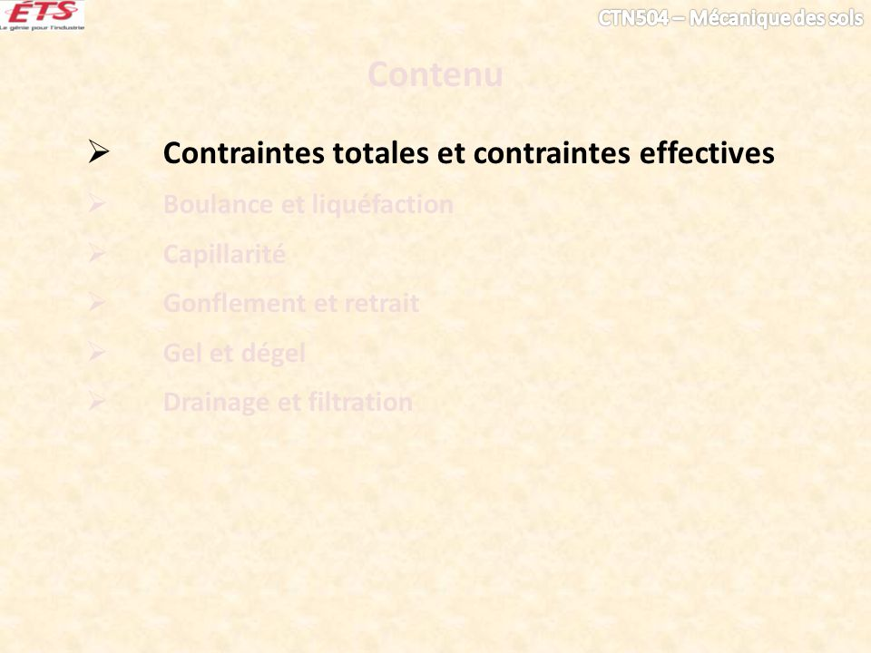 Contenu Contraintes totales et contraintes effectives