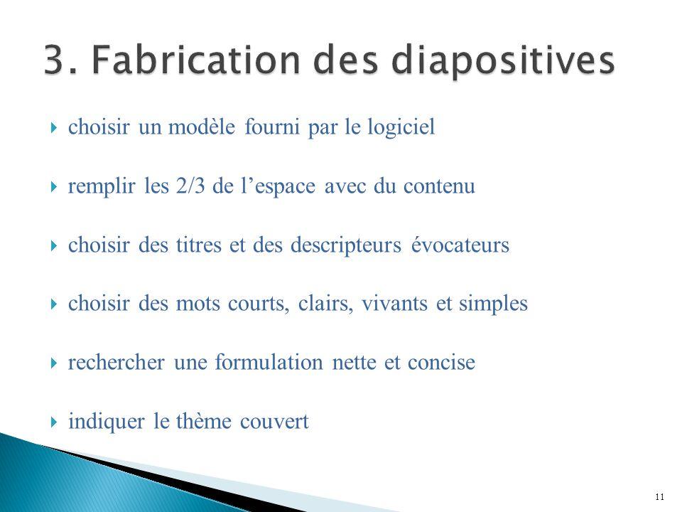 3. Fabrication des diapositives
