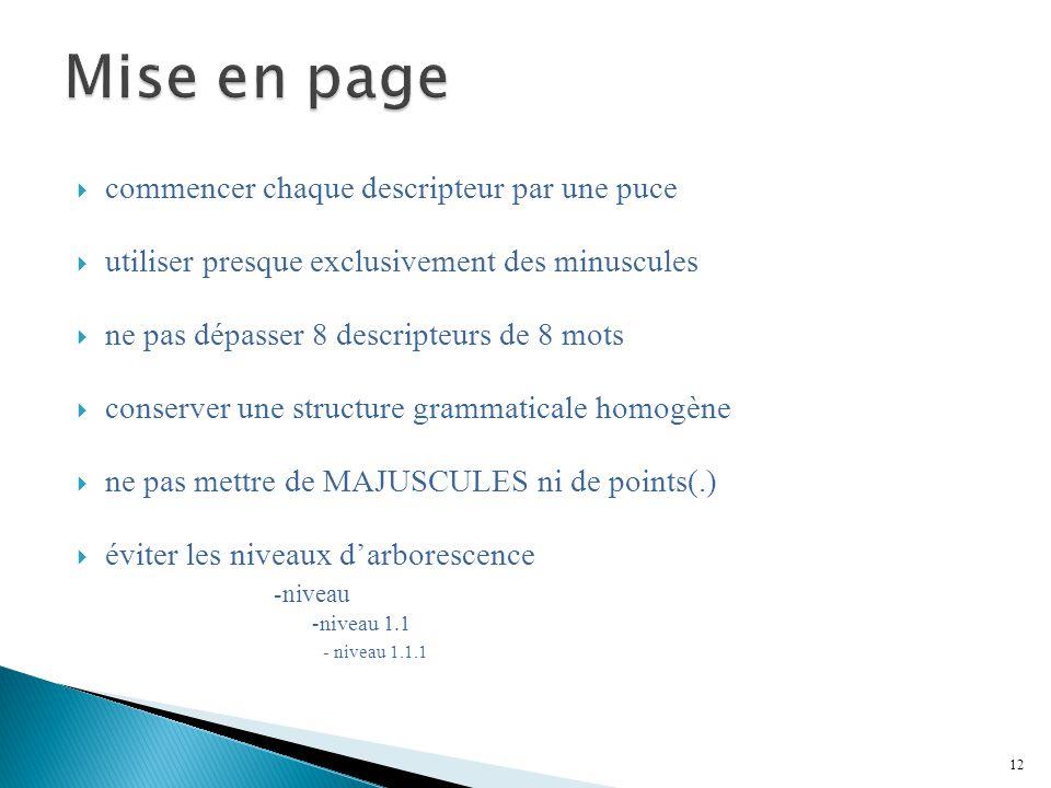 Mise en page commencer chaque descripteur par une puce
