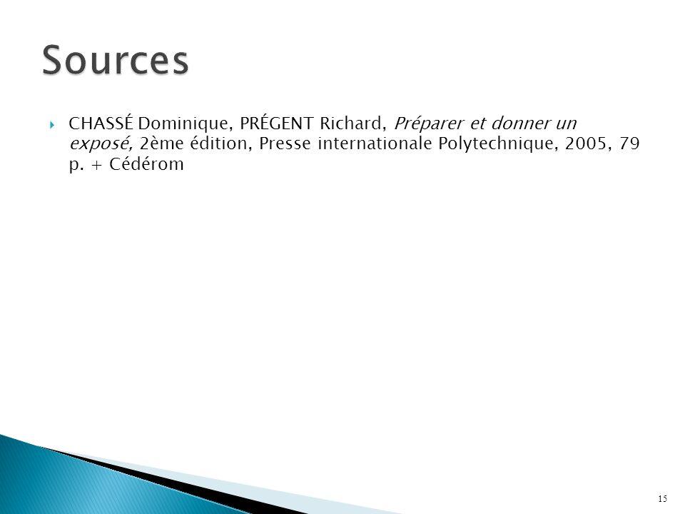 Sources CHASSÉ Dominique, PRÉGENT Richard, Préparer et donner un exposé, 2ème édition, Presse internationale Polytechnique, 2005, 79 p.
