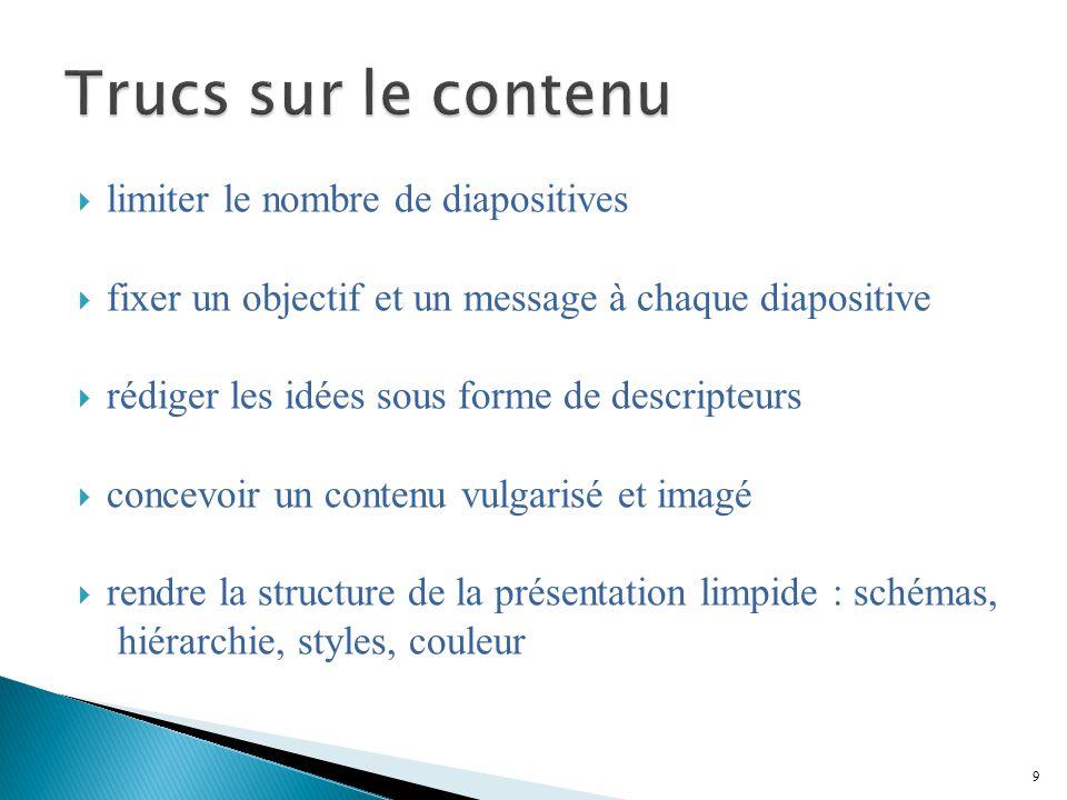 Trucs sur le contenu limiter le nombre de diapositives