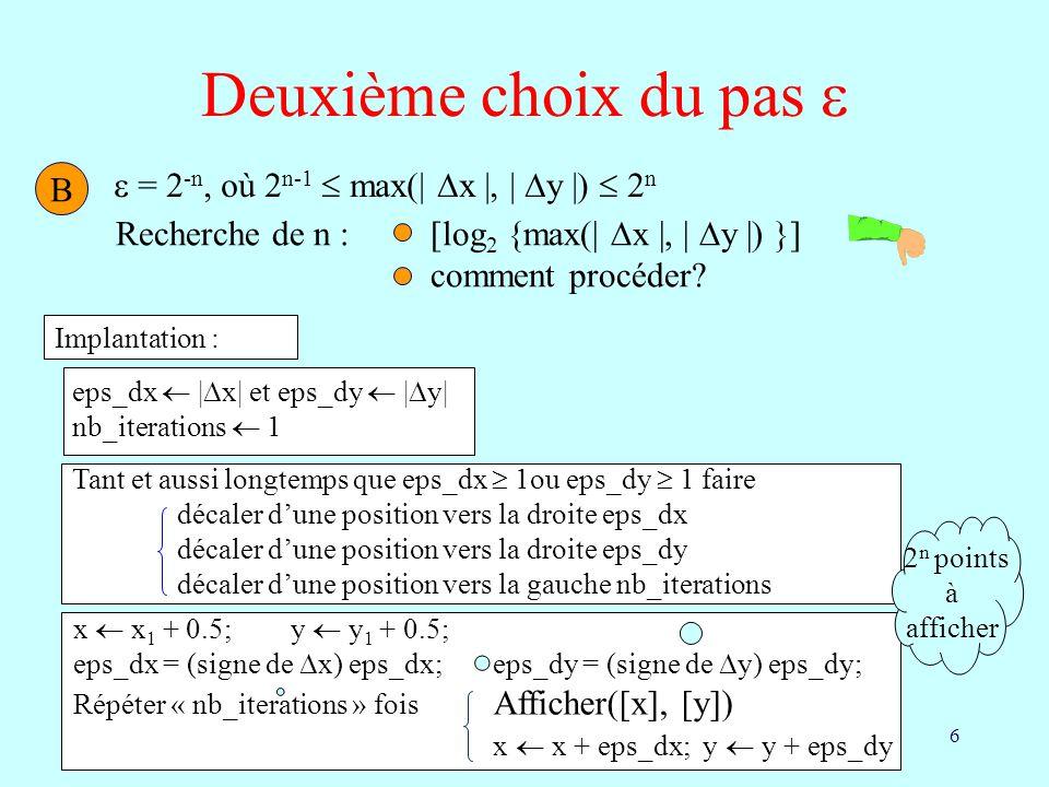 Deuxième choix du pas   = 2-n, où 2n-1  max(| x |, | y |)  2n B