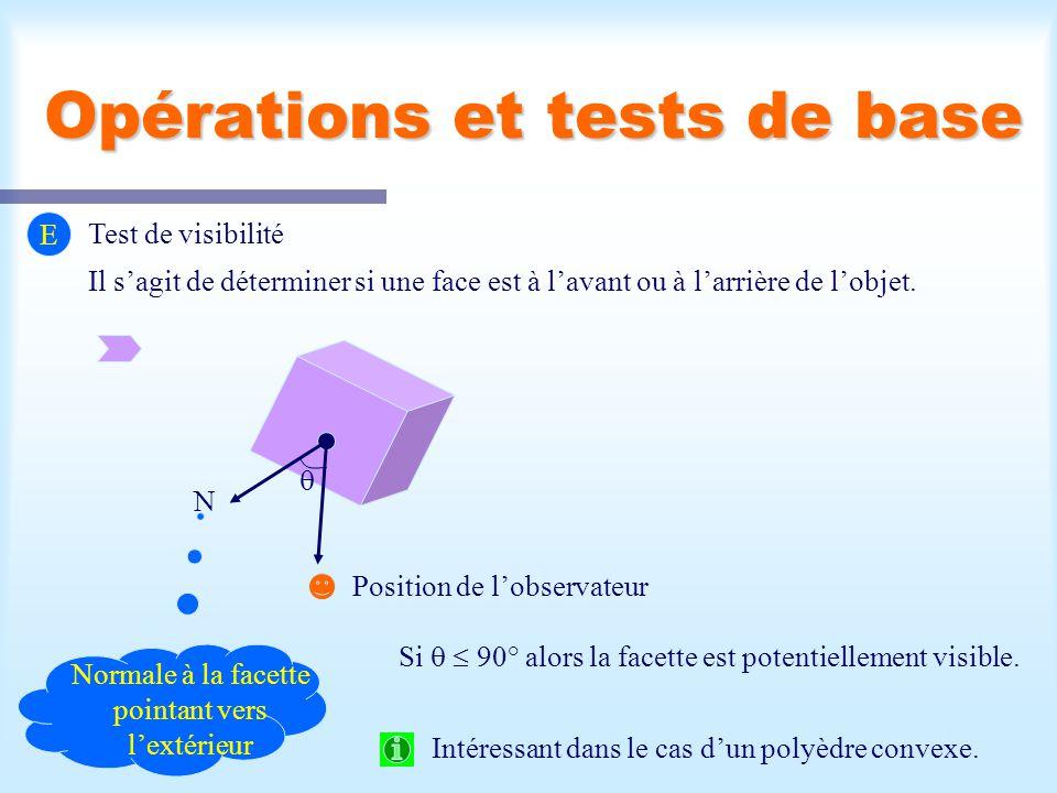 Opérations et tests de base