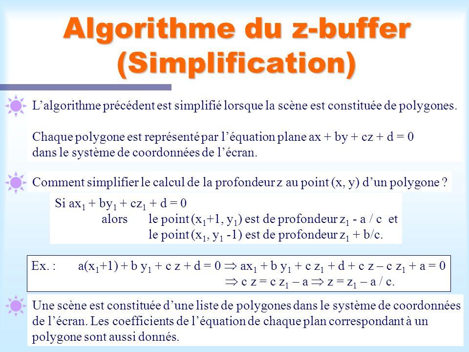 Algorithme du z-buffer (Simplification)